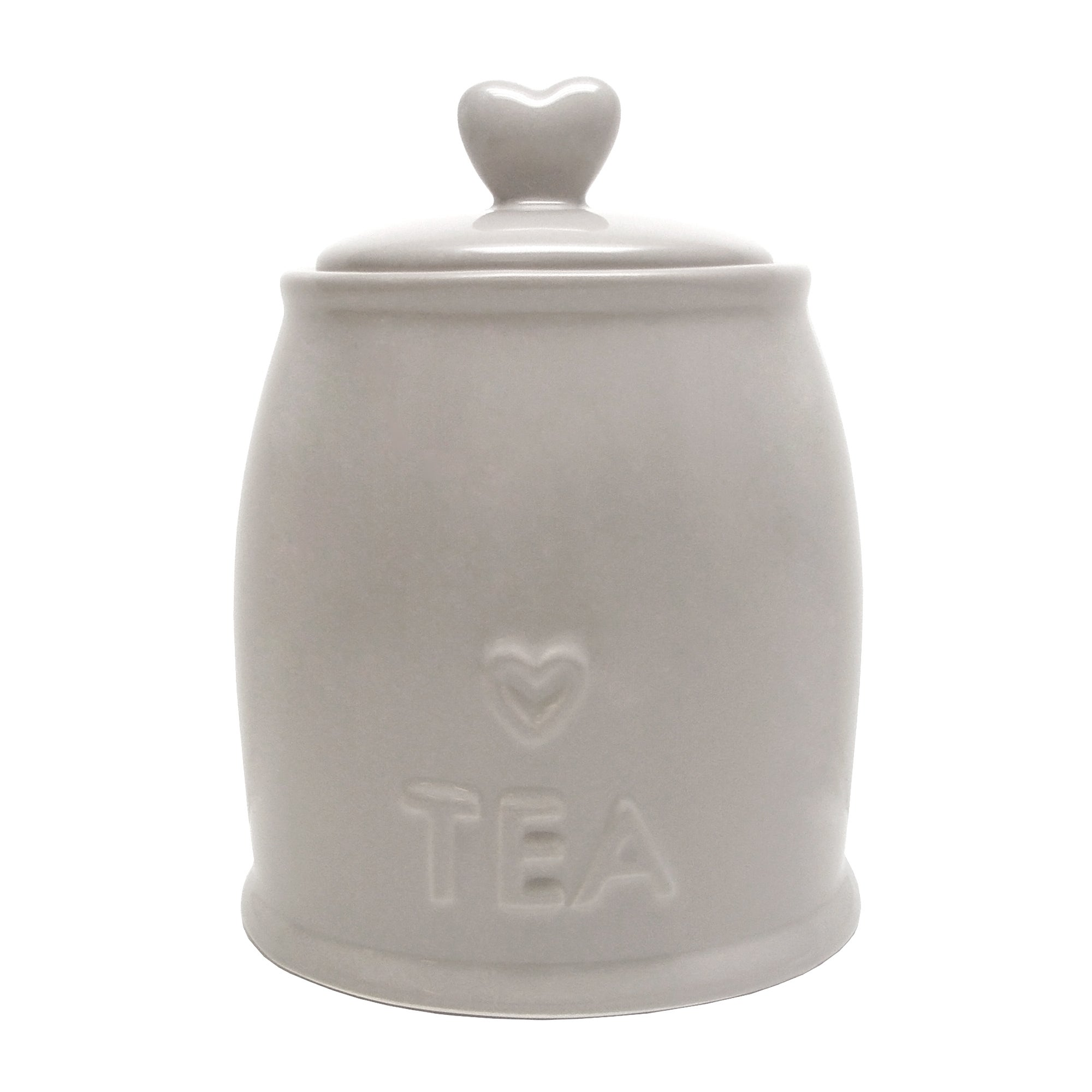 Taupe Country Heart Collection Tea Storage Jar