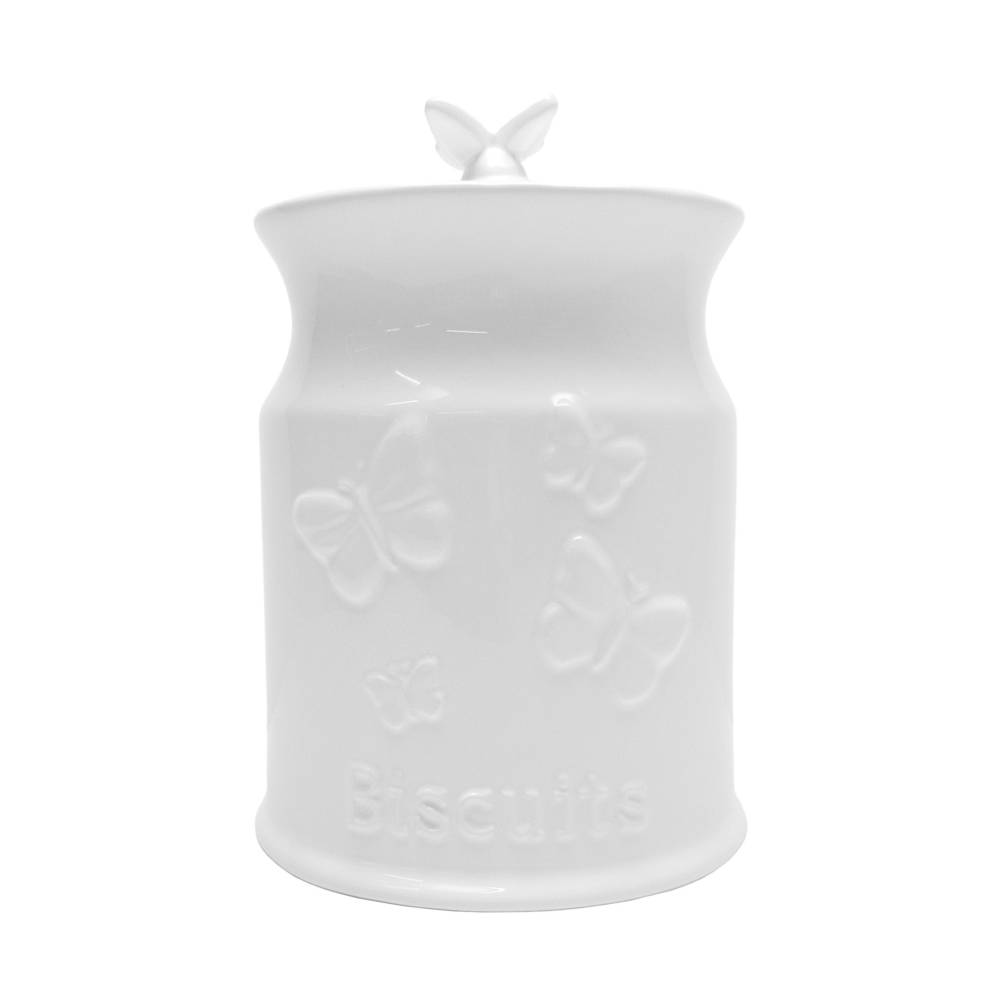 White Butterflies Collection Embossed Biscuit Canister