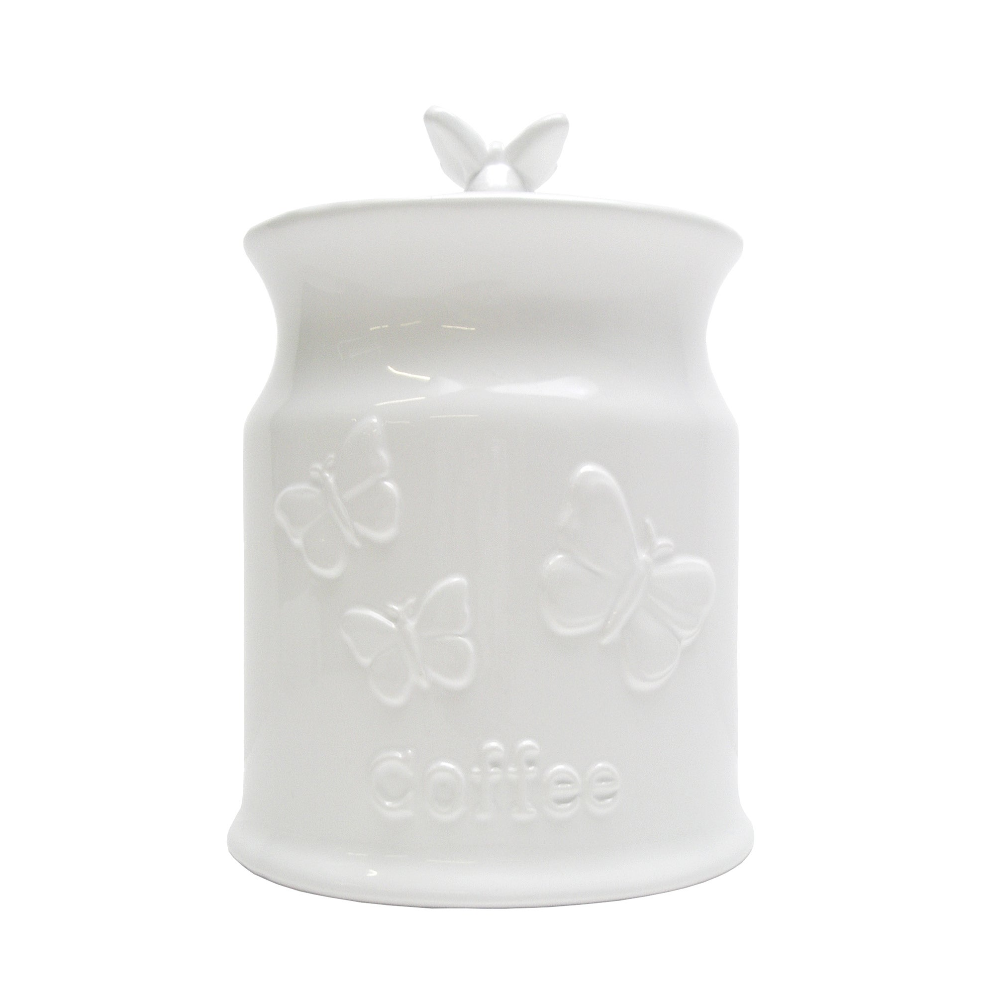 White Butterflies Collection Embossed Coffee Canister