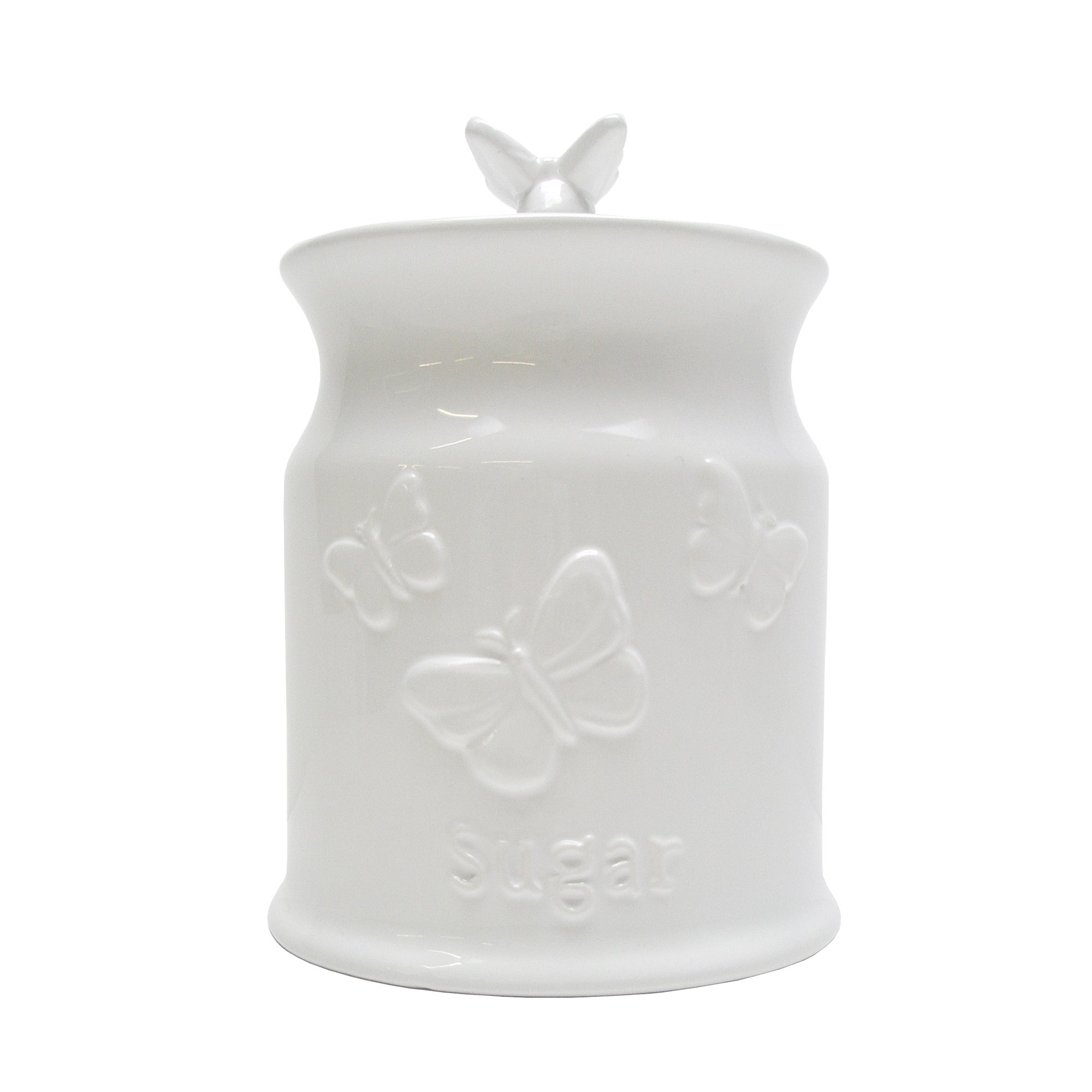 White Butterflies Collection Embossed Sugar Canister
