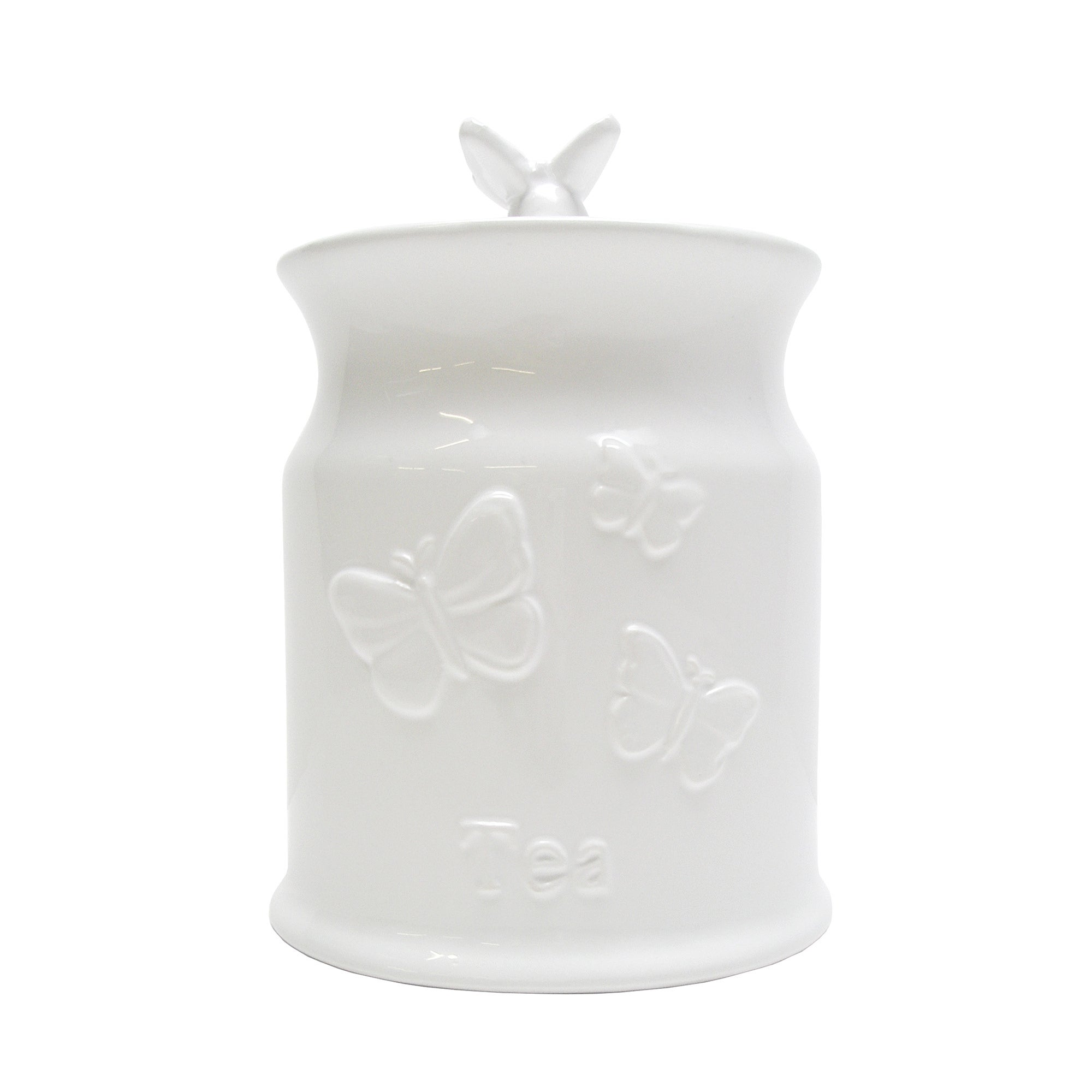 White Butterflies Collection Embossed Tea Canister