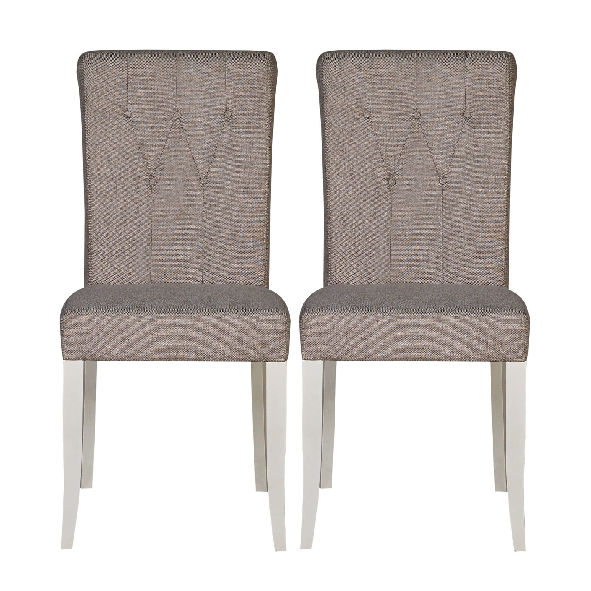 Eaton Soft Grey Button Back Pair of Upholstered Dining Chairs