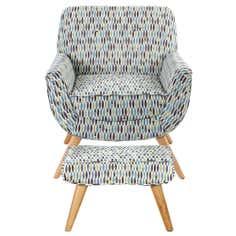 Skandi Retro Leaf Armchair and Footstool Set