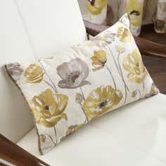 Yellow Painterly Poppy Collection Boudoir Cushion