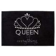 Queen of Everything Black Washable Doormat