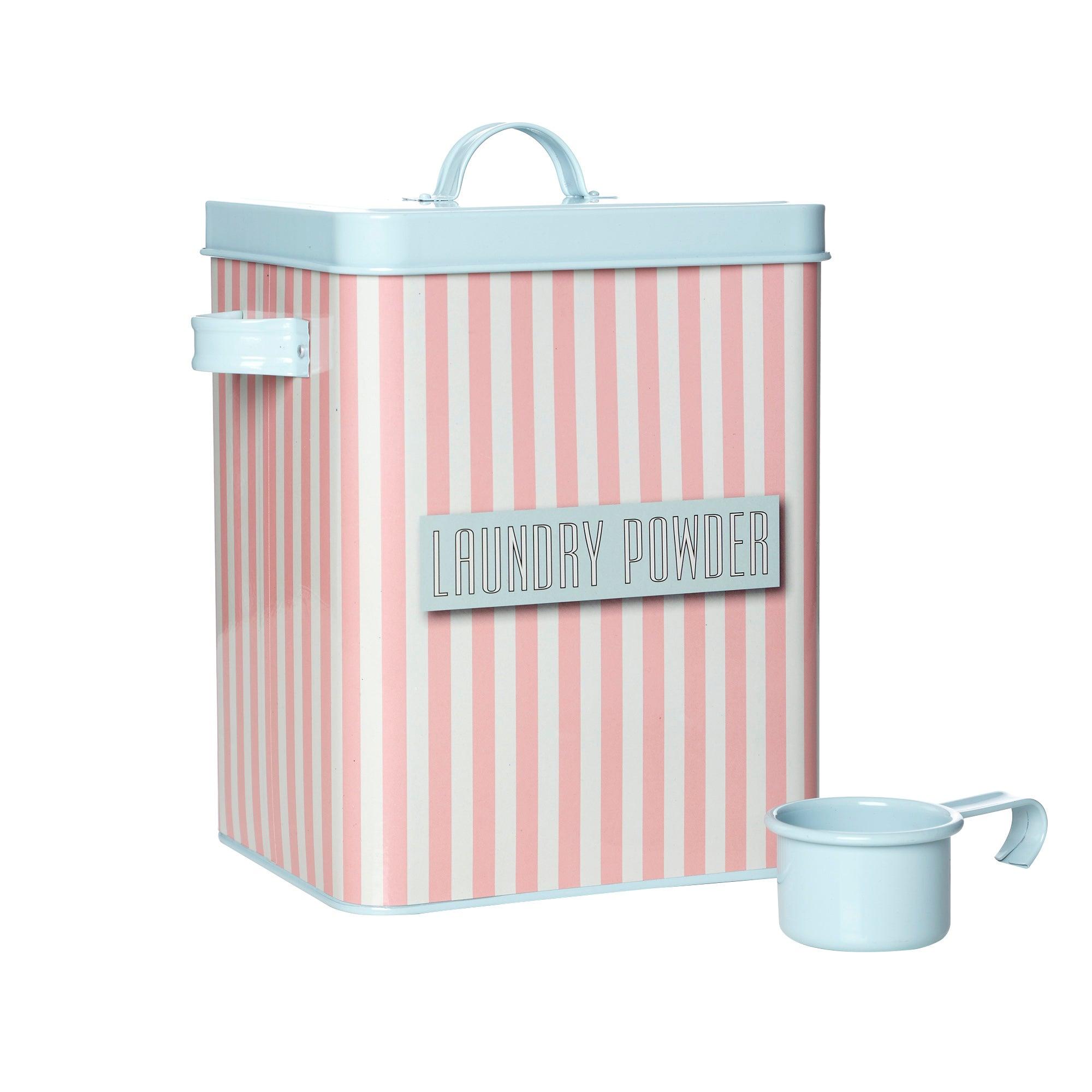 Pink Striped Laundry Powder Box