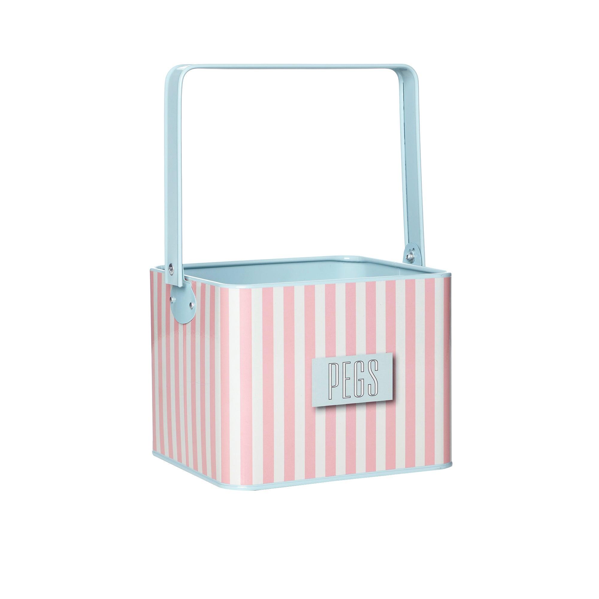 Pink Striped Peg Box
