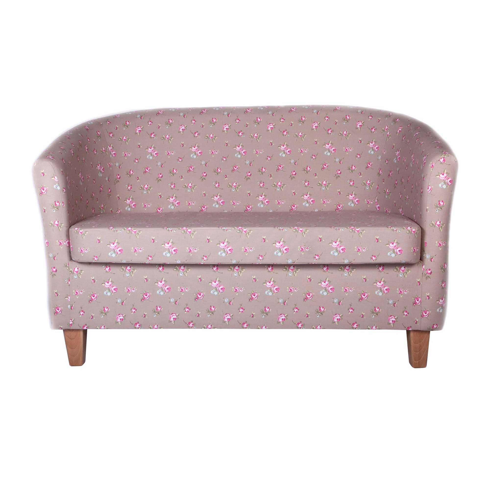 Rosebud Taupe Two Seater Tub Chair