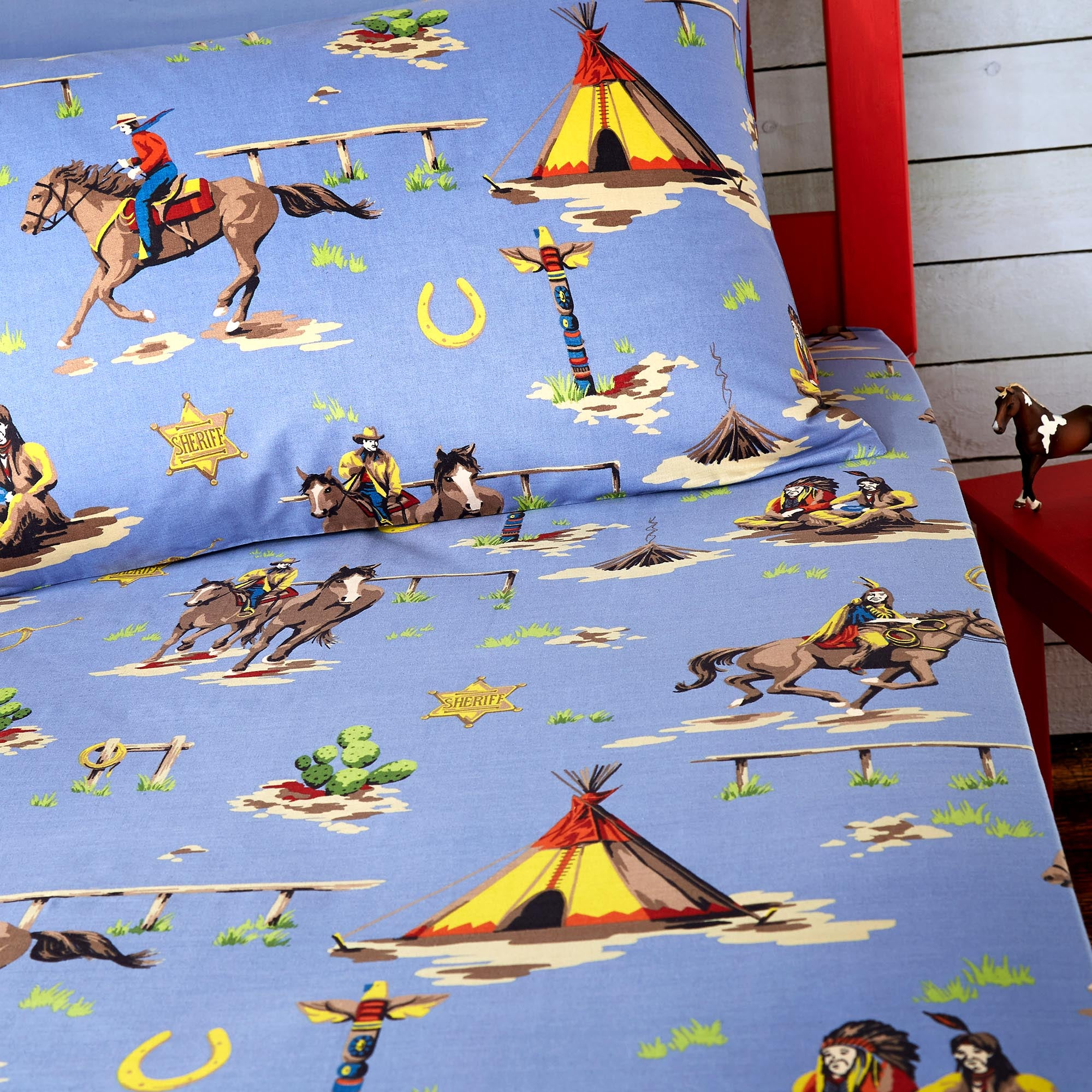 Kids Blue Cowboys and Indians Collection Junior Fitted Sheet