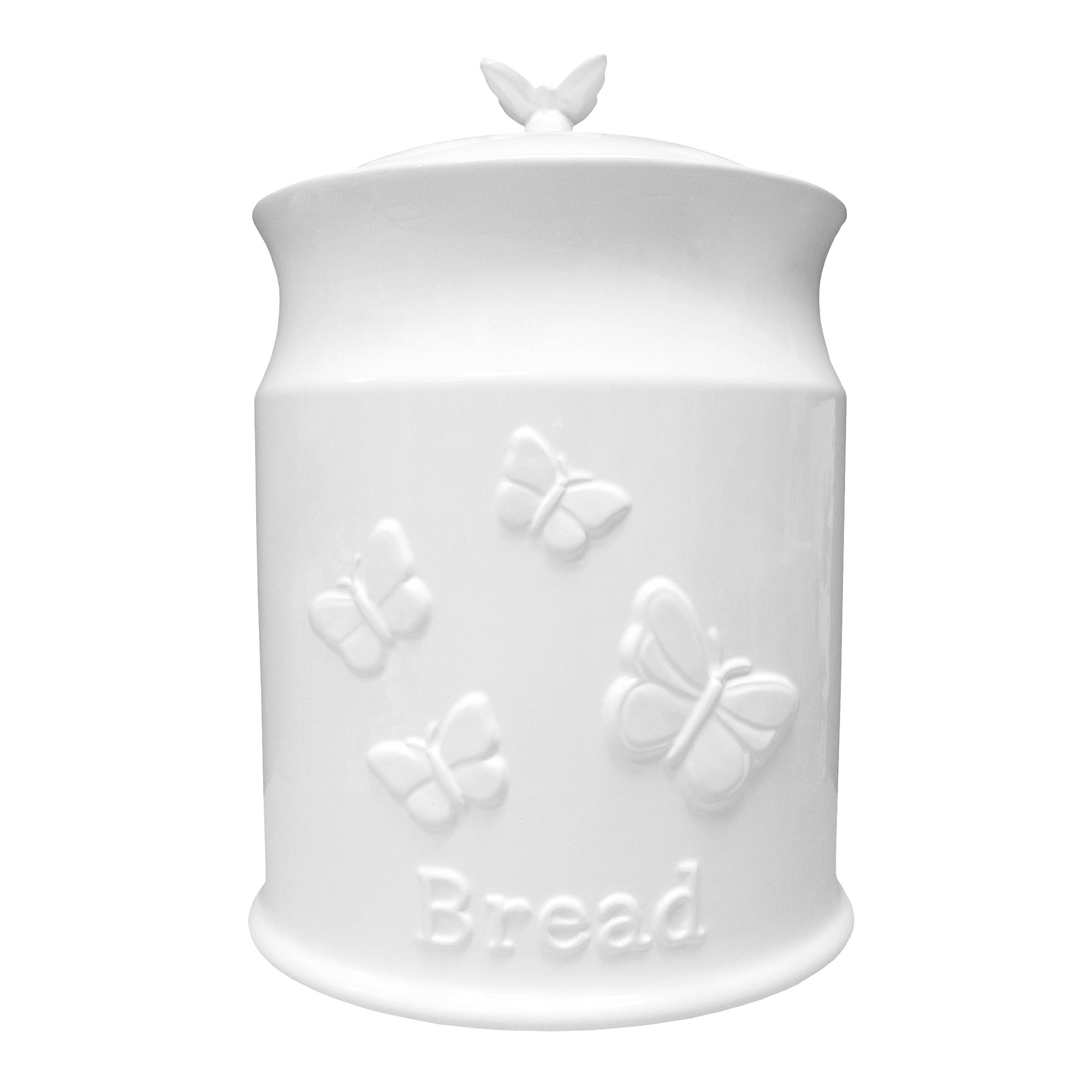 White Butterflies Collection Embossed Bread Crock