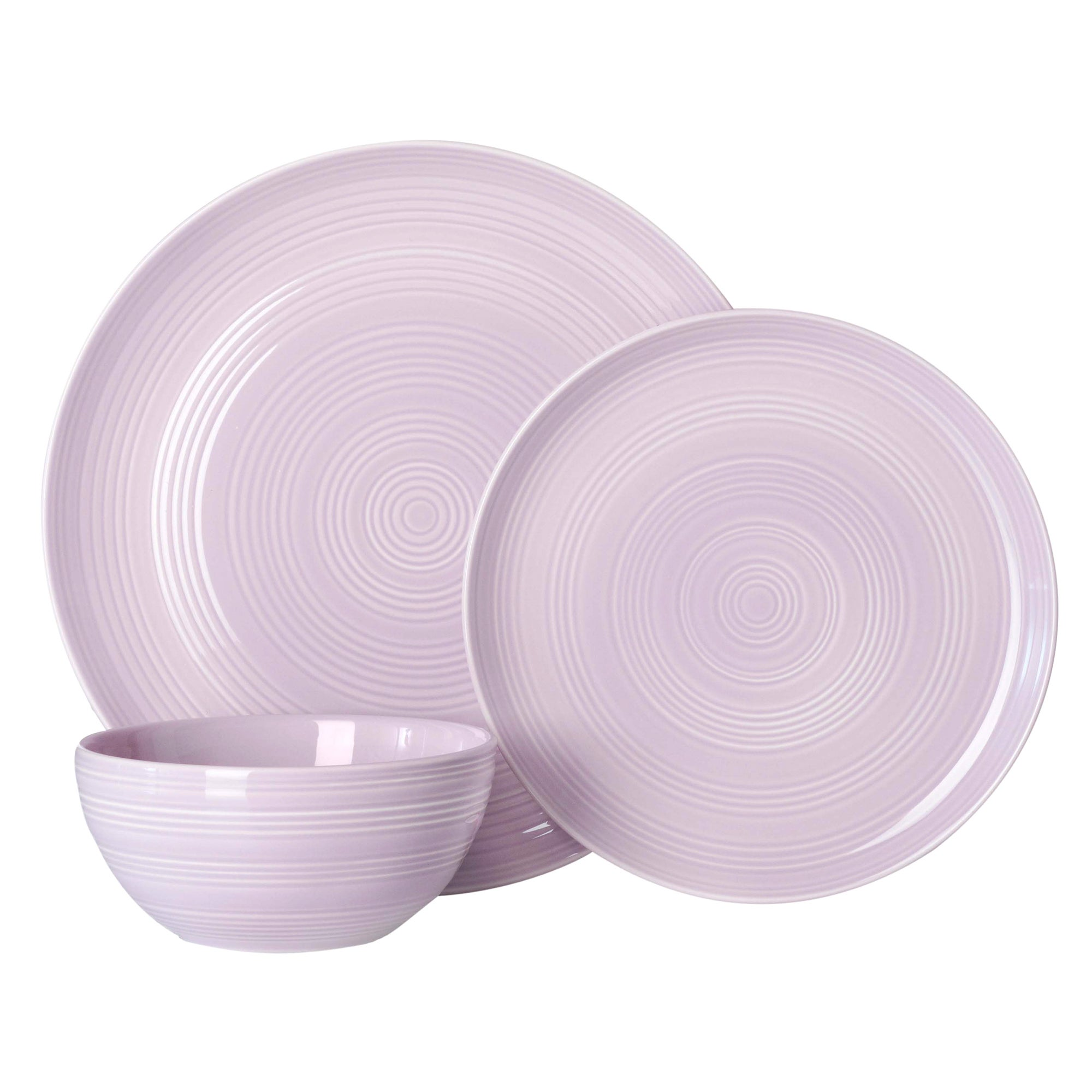 Mauve Spin Collection 12 Piece Dinner Set