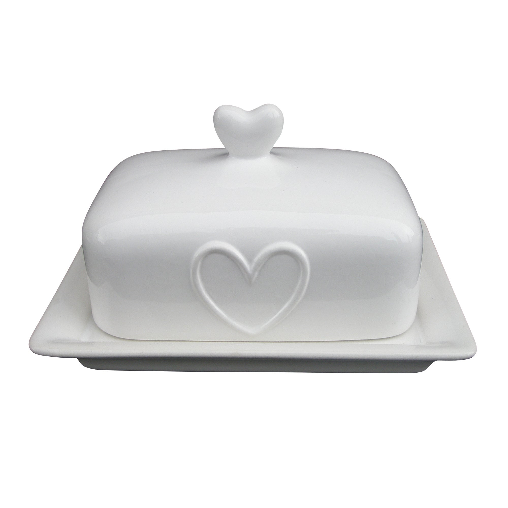 White Country Heart Collection Butter Dish