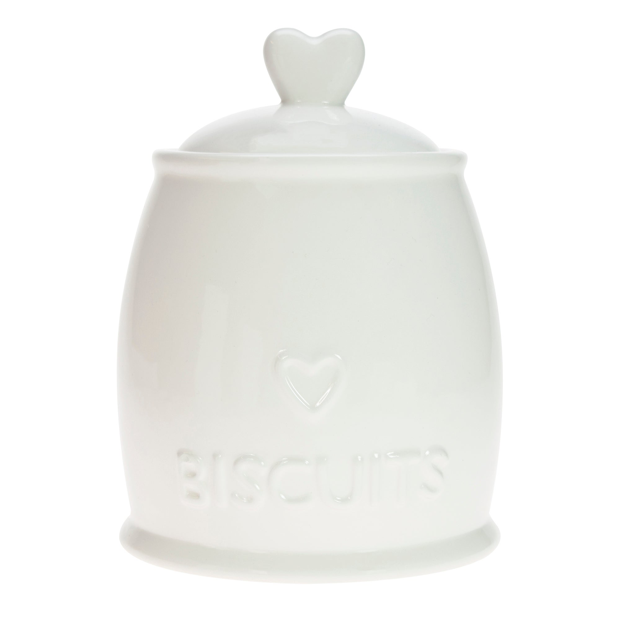White Country Heart Collection Biscuit Canister