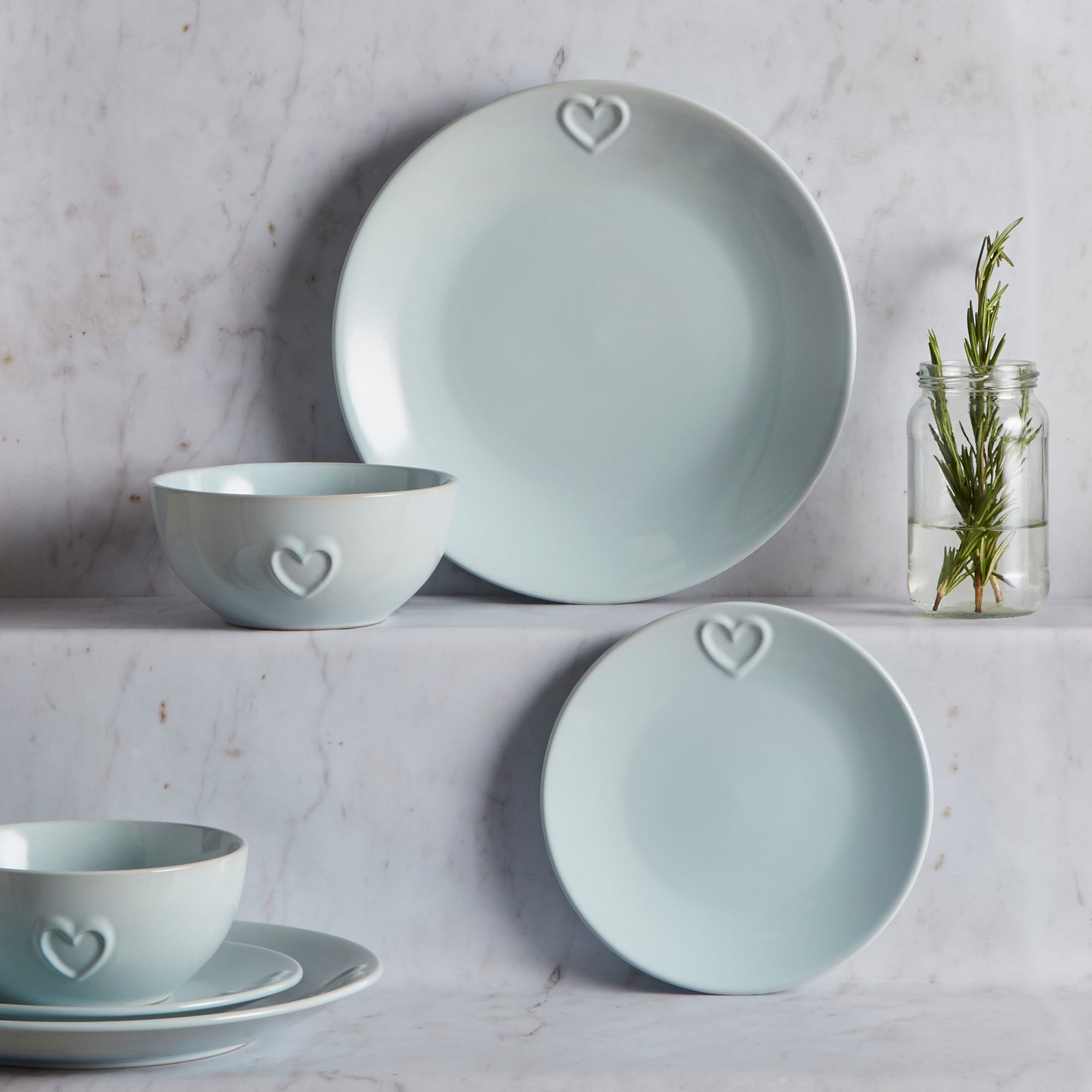 Duck Egg Country Heart Collection 12 Piece Dinner Set
