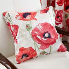 Red Painterly Poppy Square Cushion
