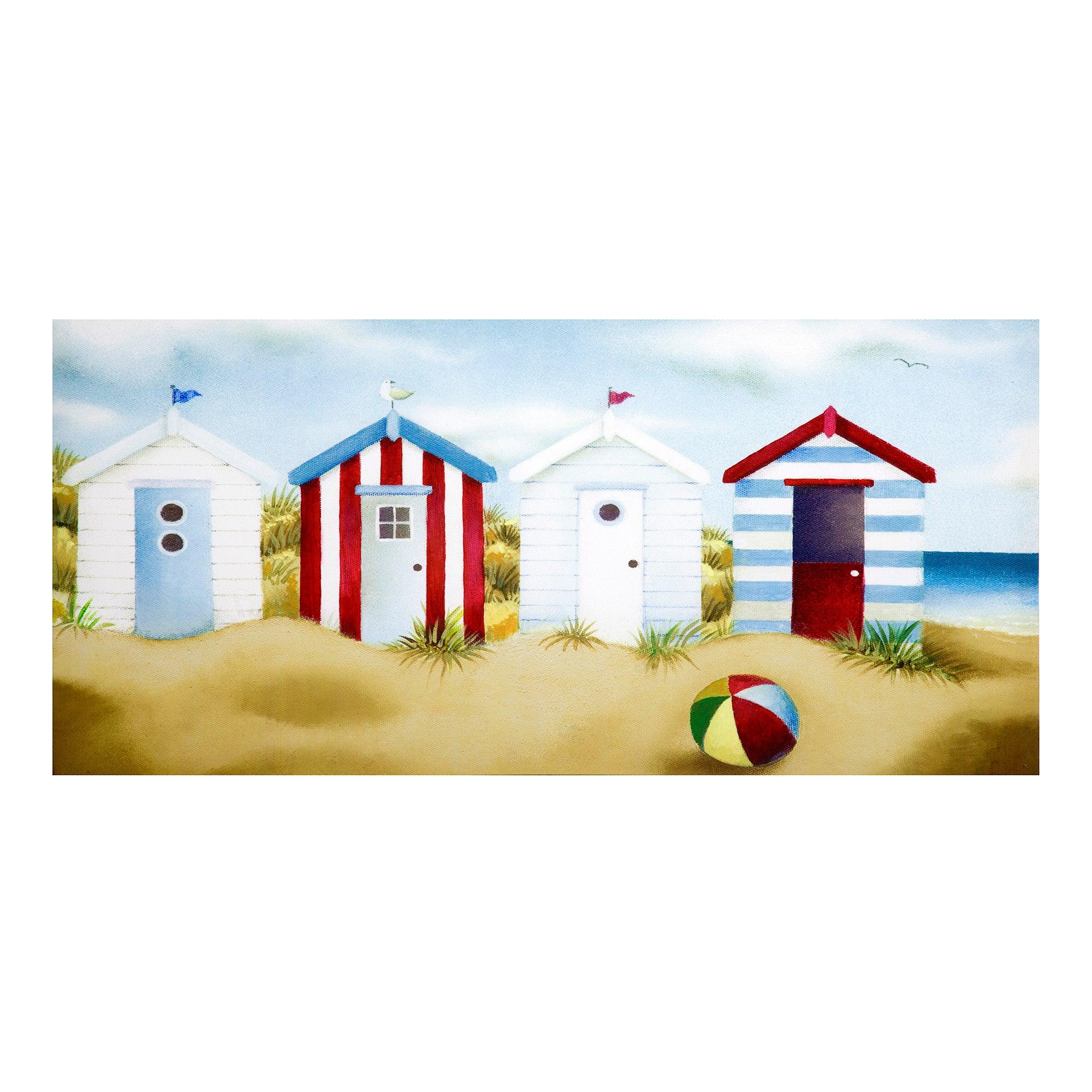 Beach Huts Printed Canvas