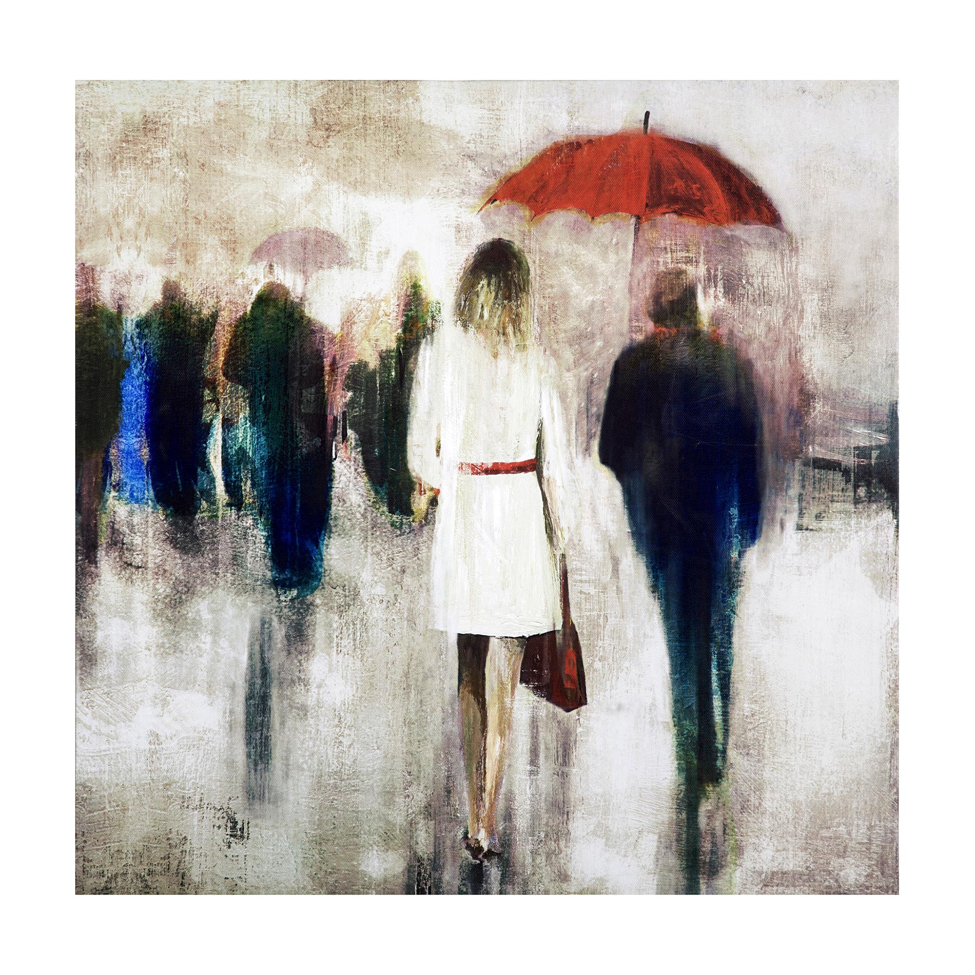 Red Umbrella City Scene Canvas