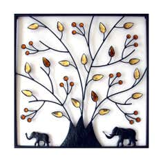 Tree and Elephant Metal Wall Art