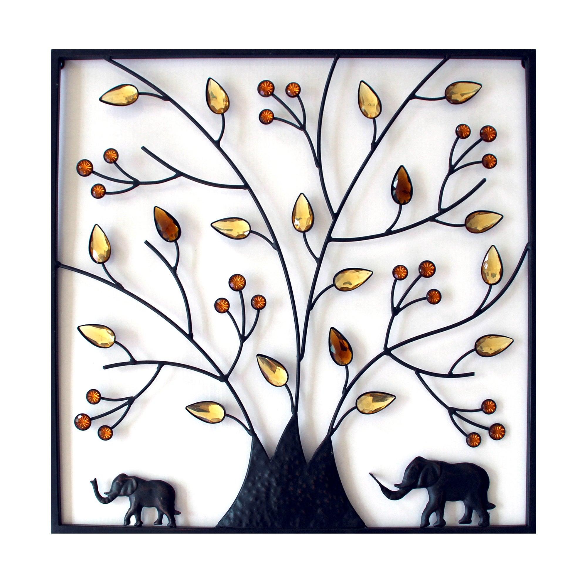 Tree and Elephant Metal Wall Art