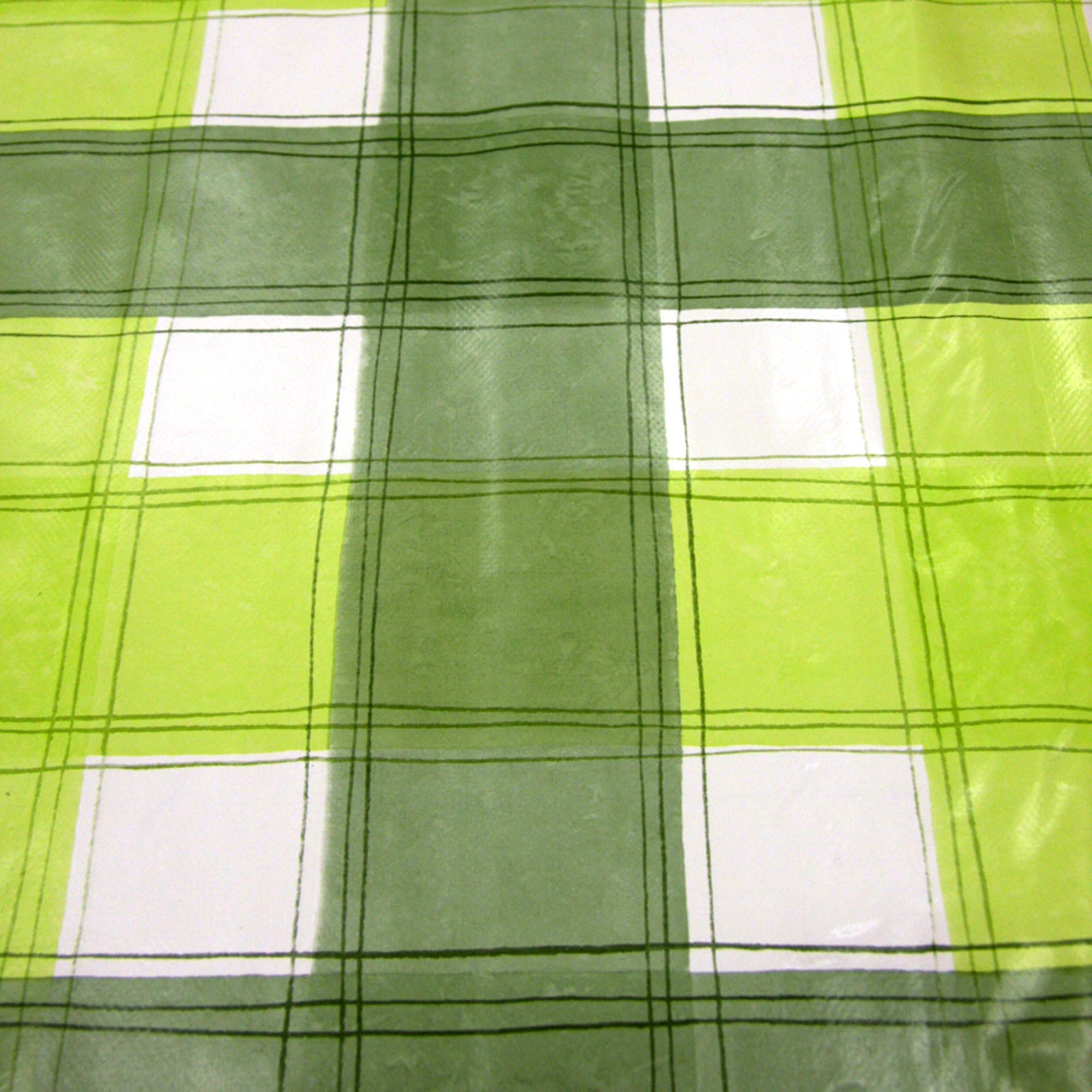 Green Wavy Check PVC Fabric