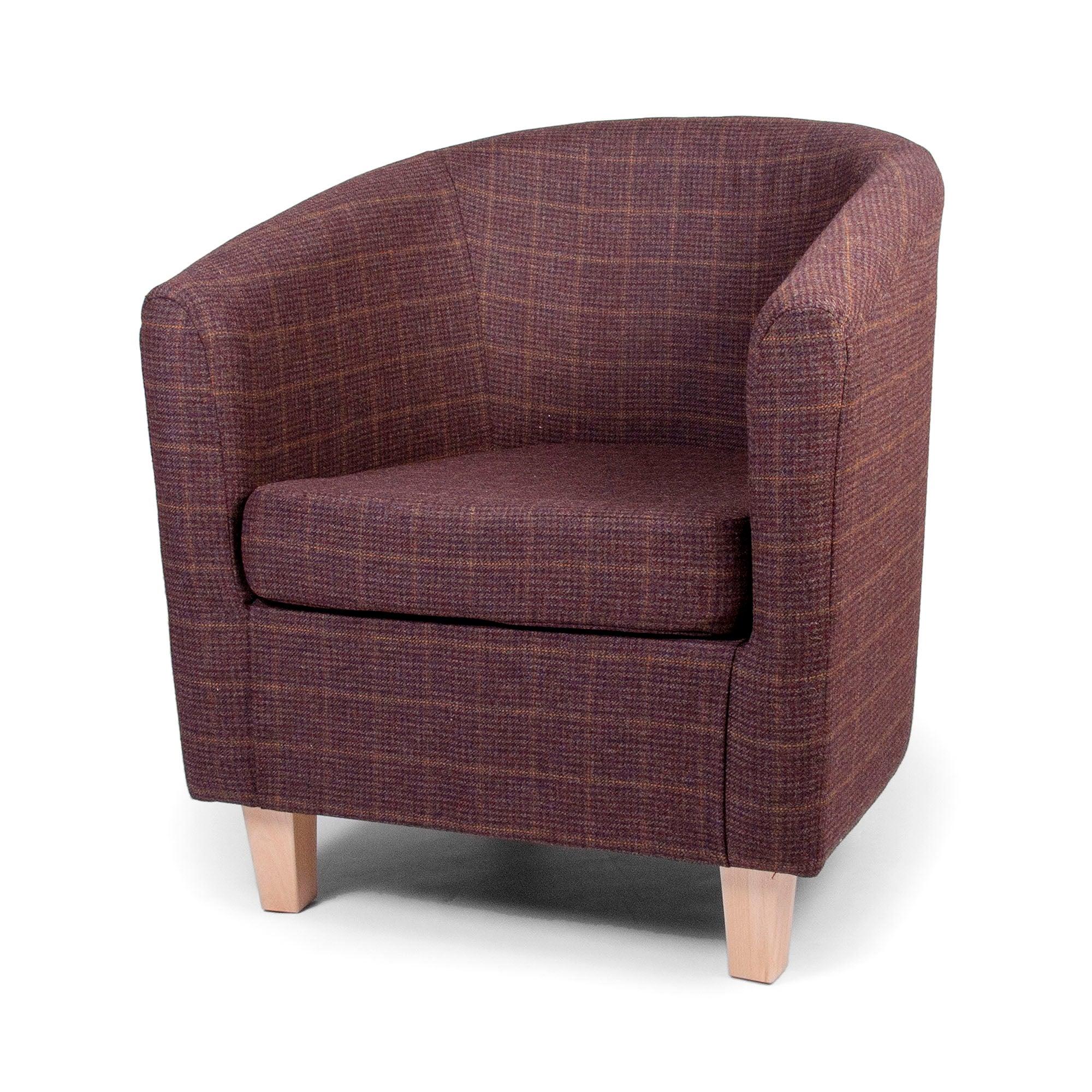 Wool Check Partridge Tub Chair