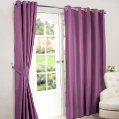 Mauve Nova Blackout Eyelet Curtains