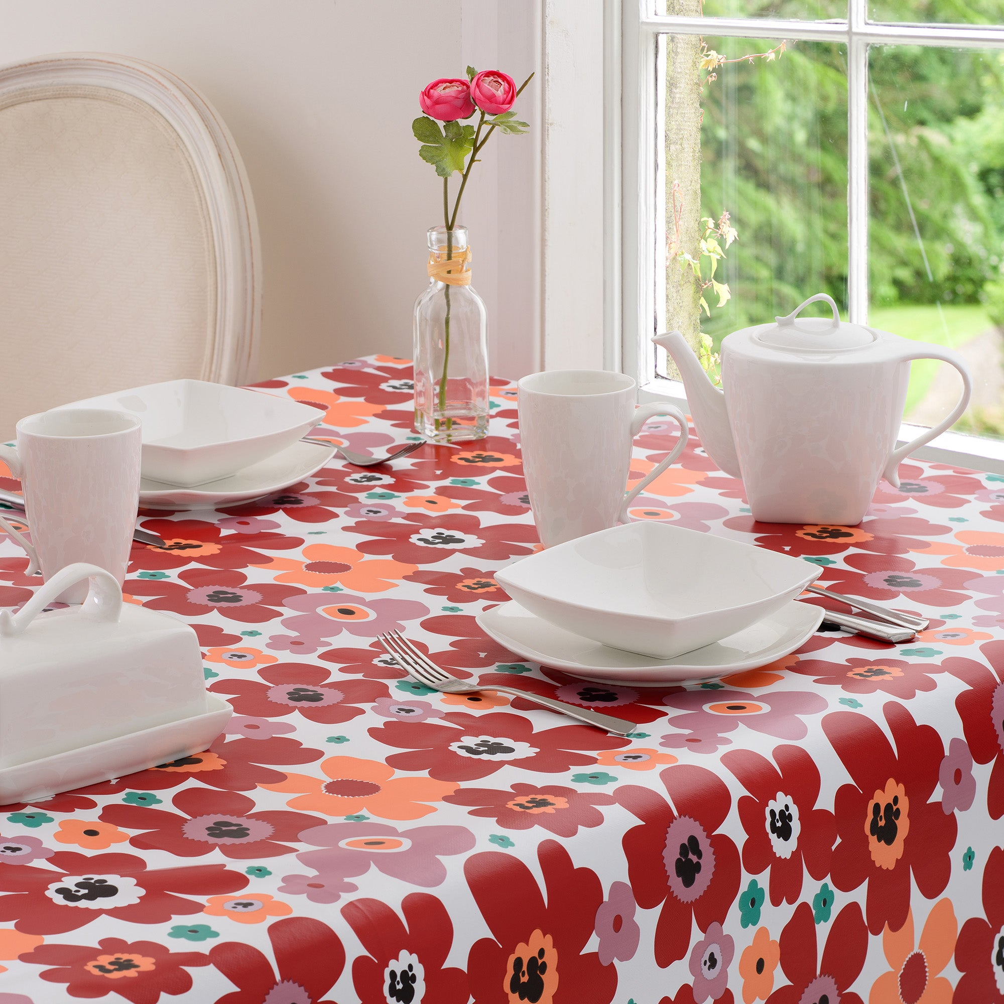 Aster Collection Floral PVC Tablecloth