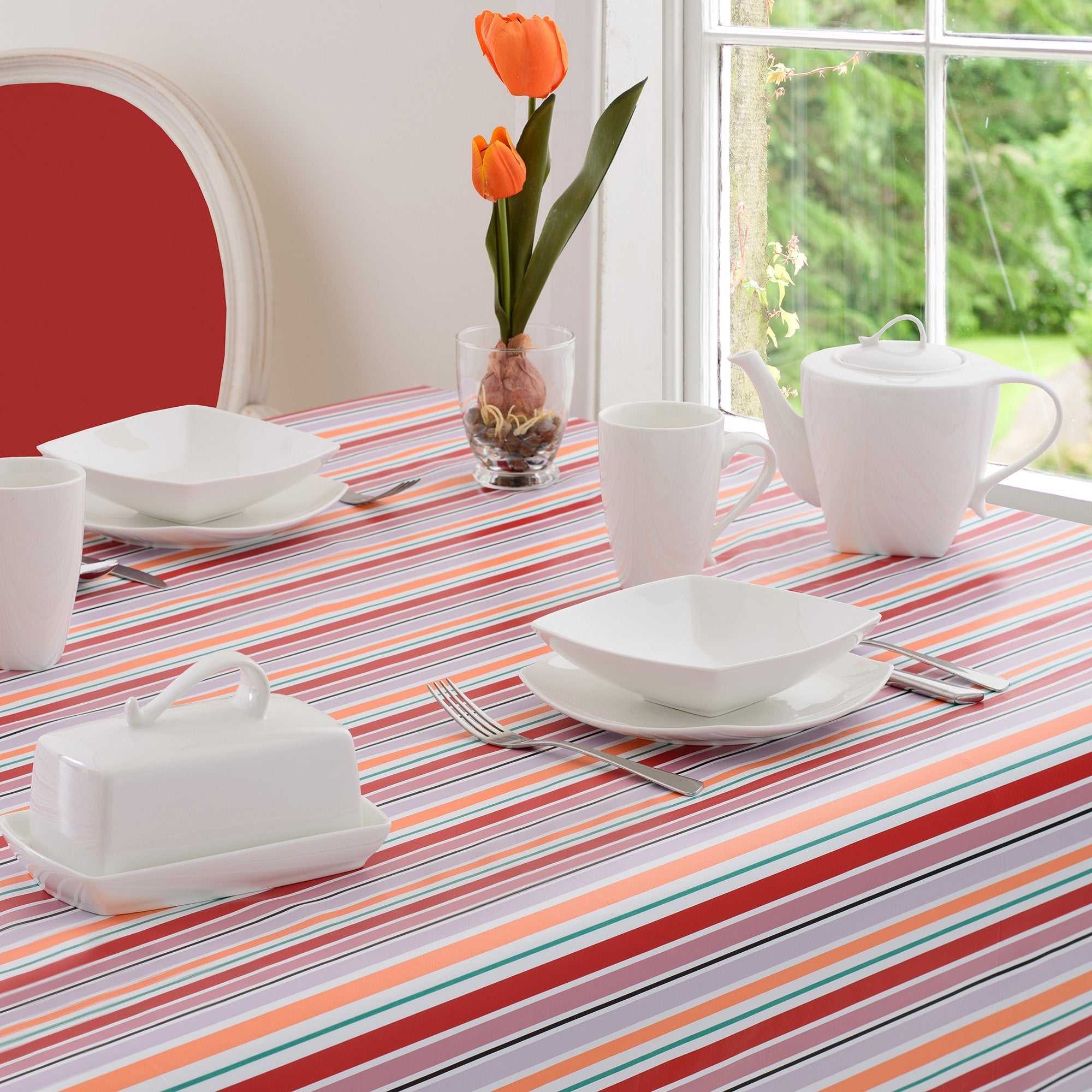 Aster Collection Striped PVC Tablecloth