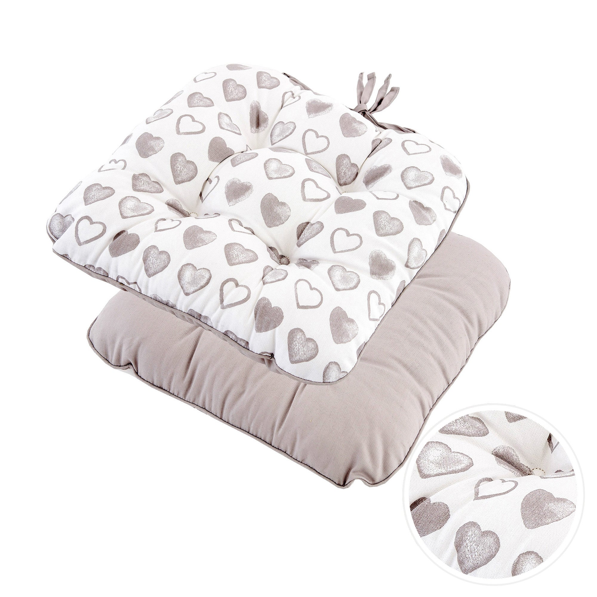 Taupe Country Heart Collection Seat Pad