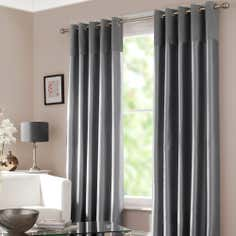 Silver Verona Lined Eyelet Curtains