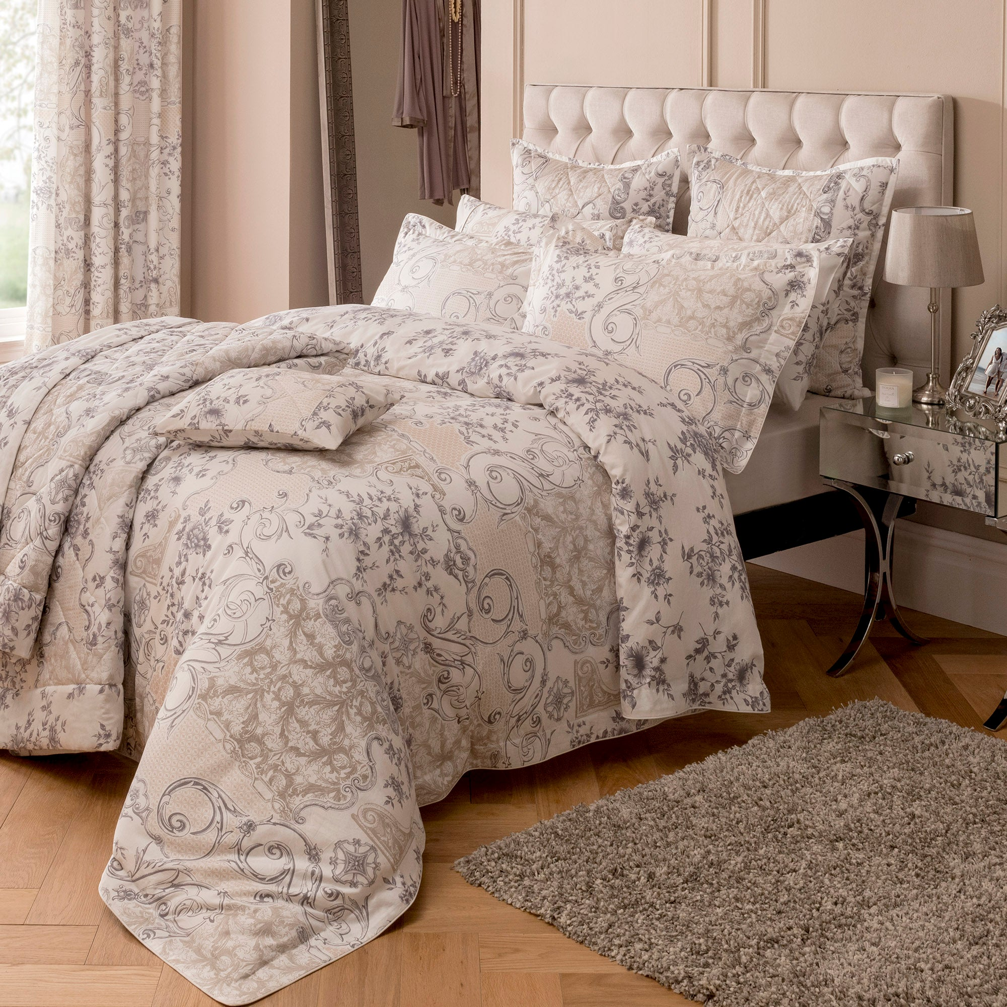 Dorma Taupe Valentina Collection Duvet Cover Set