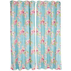 Teal Fleur Lined Eyelet Curtains