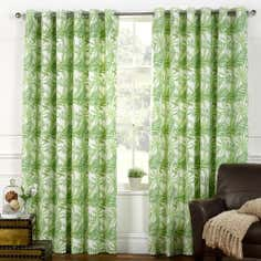 Green Tropical Canopy Lined Eyelet Curtains