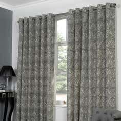 Grey Lovina Lined Eyelet Curtains