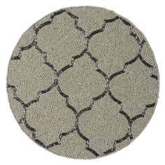 Cream Fretwork Beaded Round Placemat