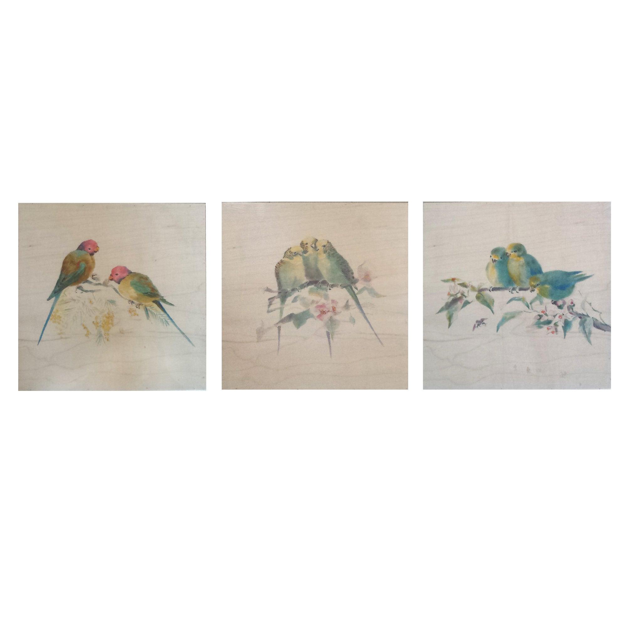 Set of Three Tropical Bird Plaques