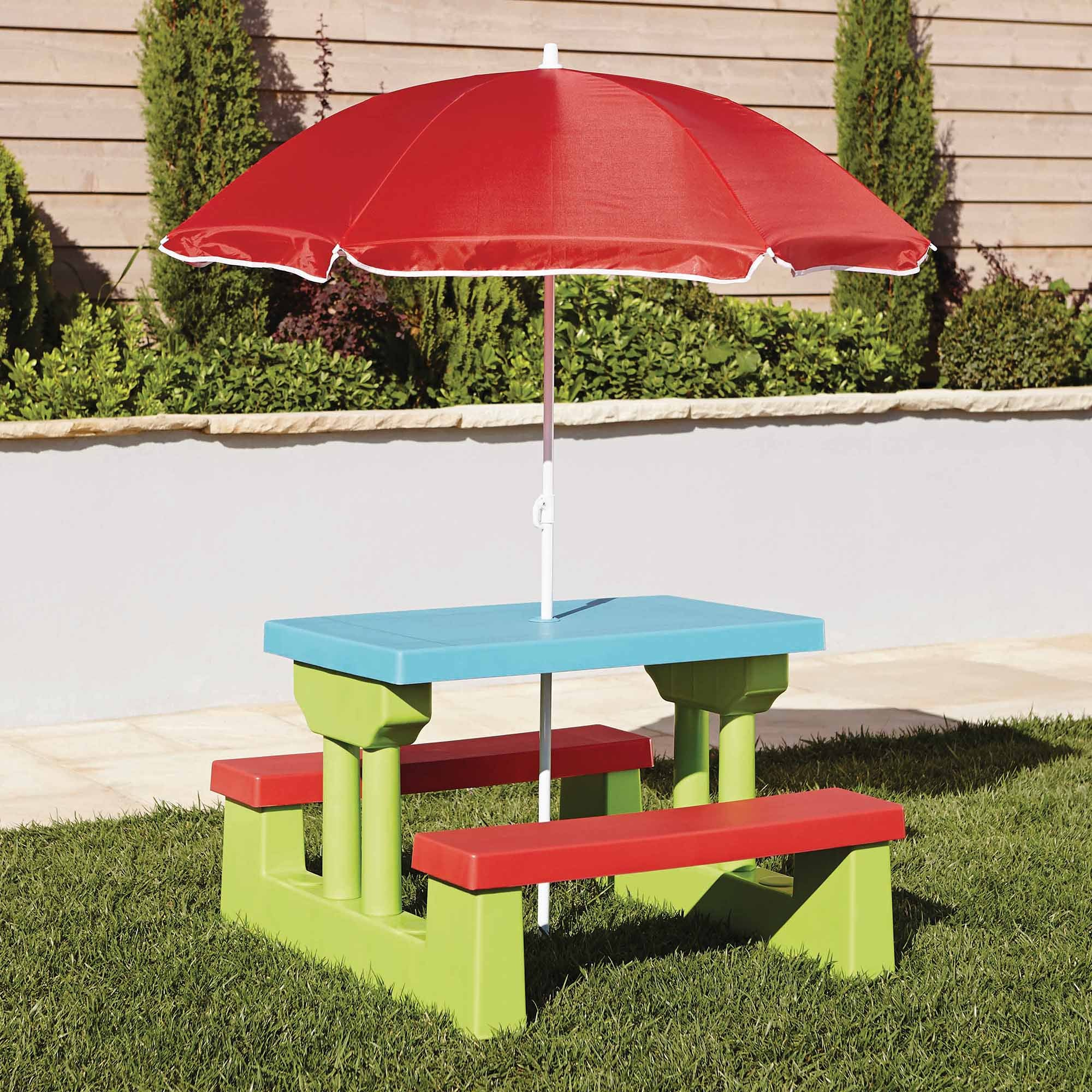 Kids Garden Bench and Parasol Set Multi Coloured