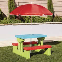 Kids Garden Bench and Parasol Set