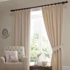 Natural Gingham Lined Pencil Pleat Curtains