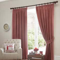 Red Gingham Lined Pencil Pleat Curtains
