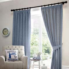 Blue Gingham Lined Pencil Pleat Curtains