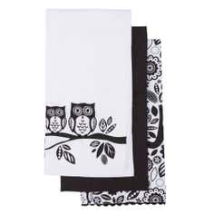 Owls Pack of 3 Tea Towels Black