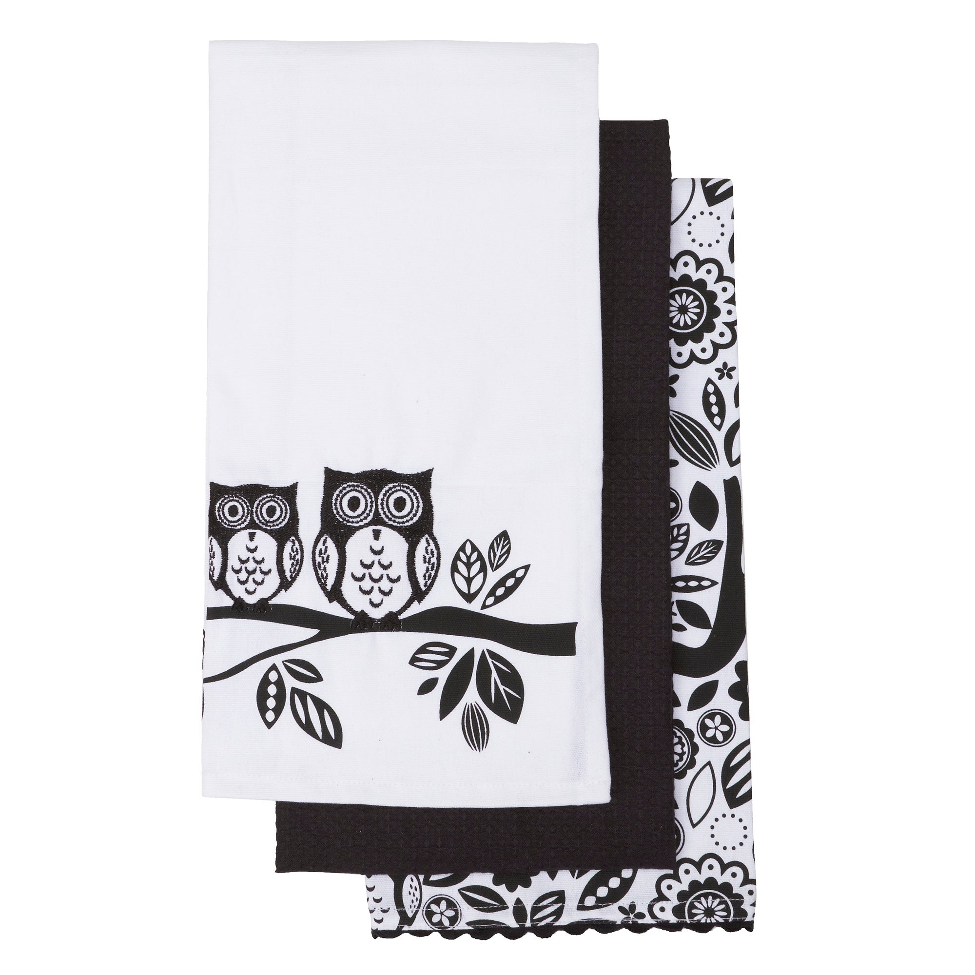 Owls Pack of 3 Tea Towels Black