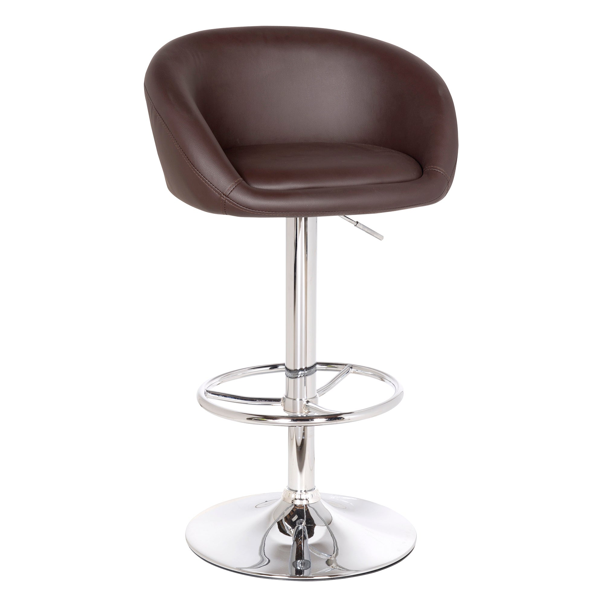 Apollo Brown Upholstered Gas Lift Bar Stool