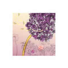 Plum Floral Printed Canvas
