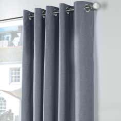 Blue Chambray Thermal Eyelet Curtains
