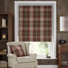 Red Highland Check Blackout Roman Blind