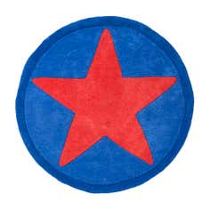 Kids Red Star Round Rug