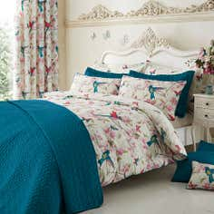 Teal Tropical Birds Collection Bedspread