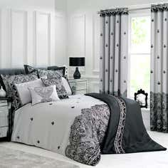 Grey Deco Flock Bedlinen Collection